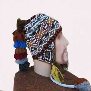Hand knitted and beaded hat