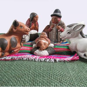 Decorative nativity made of clay