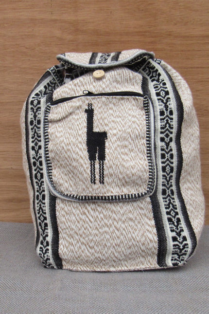 Light cream alpaca backpack