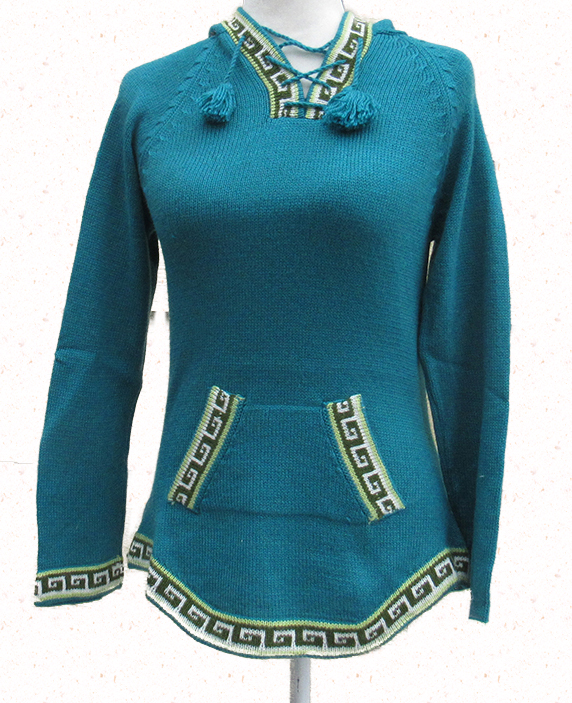 Alpaca blend sweater in turquoise