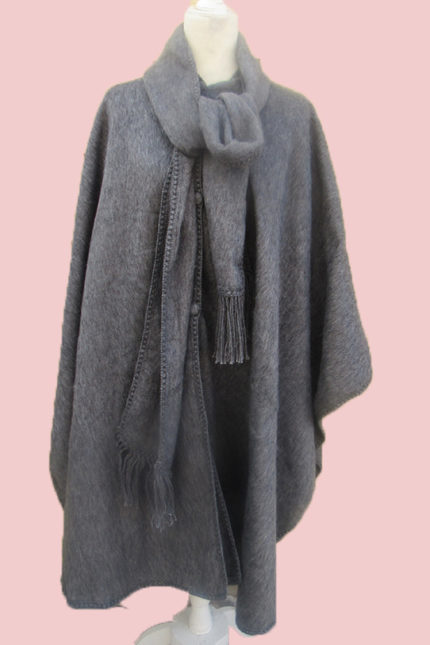 Peruvian poncho in dark gray